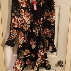 NWT Xhilaration Black Floral Wrap Dress